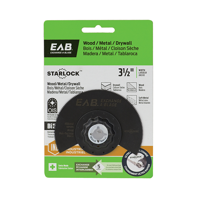 """EAB Tool 3 1/2"""" Bimetal Blade for Wood, Metal and Drywall - Starlock Industrial Oscillating Accessory - Exchangeable"""