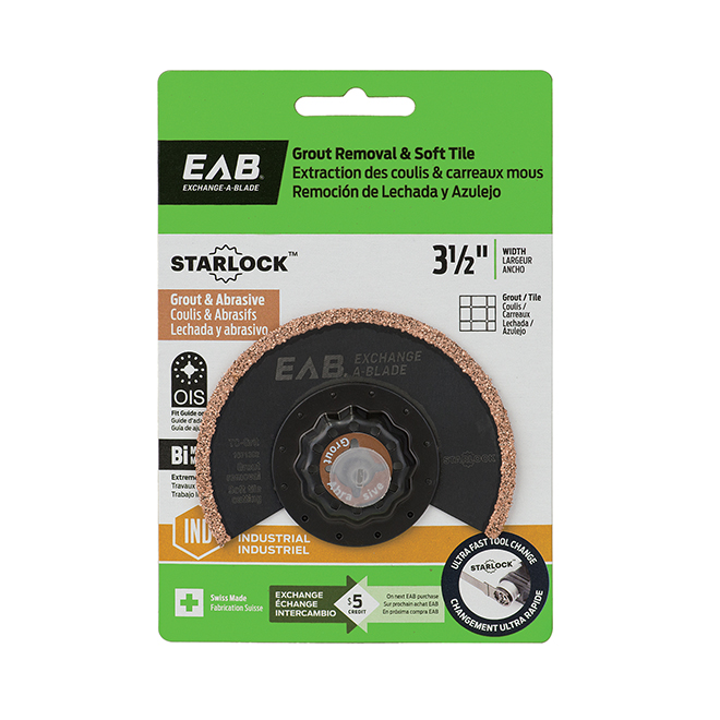 """EAB Tool 3 1/2"""" Bimetal Blade Grout and Tile - Starlock Industrial Oscillating Accessory - Exchangeable"""
