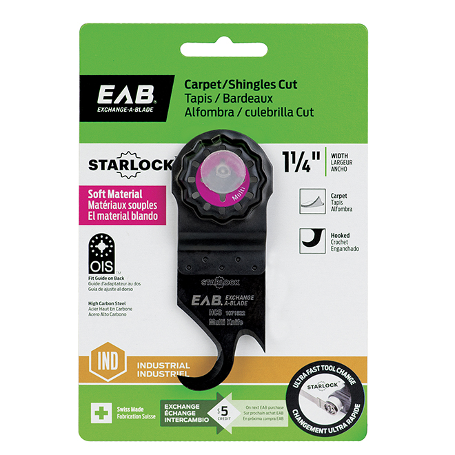 "EAB Tool 1 1/4"" HCS Blade for Shingle and Carpet Cutting - Starlock Industrial Oscillating Accessory - Exchangeable"