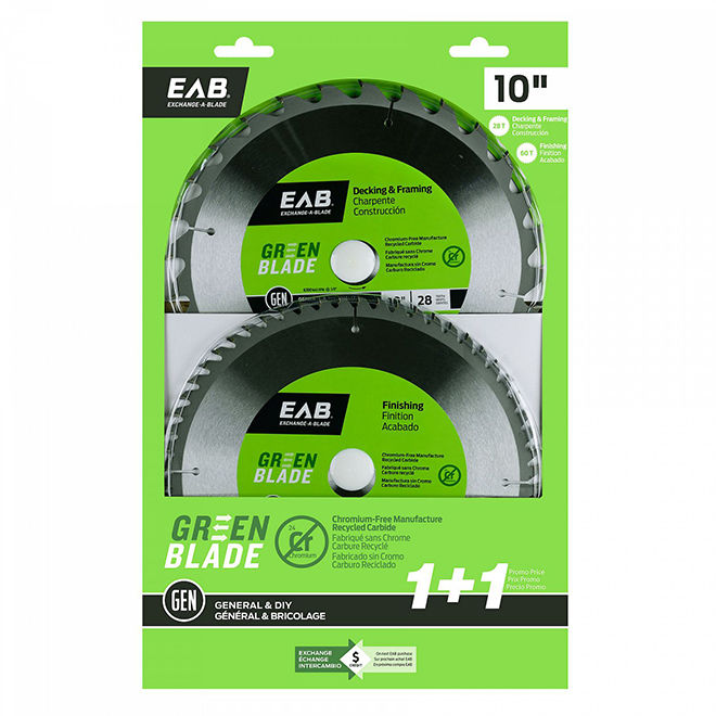"""EAB Tool Carbide Framing and Finishing Saw Blades - Green Series - 10"""" x 28 and 60 Teeth - Exchangeable - 2/Pack"""