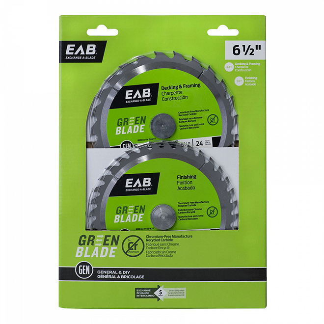 """EAB Tool Carbide Framing and Finishing Saw Blades - Green Series - 6 1/2"""" x 24 and 36 Teeth - Exchangeable - 2/Pack"""