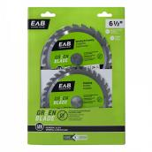 "EAB Tool Carbide Framing and Finishing Saw Blades - Green Series - 6 1/2"" x 24 and 36 Teeth - Exchangeable - 2/Pack"