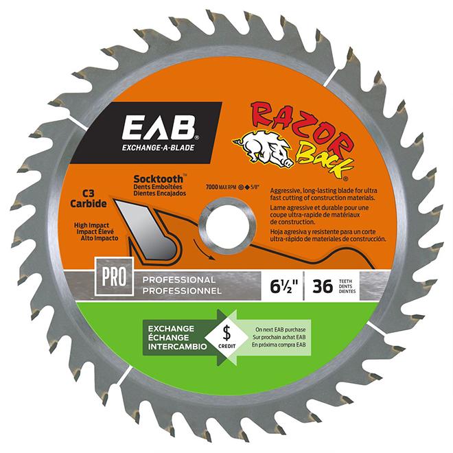 """Lame de scie au carbure EAB Tool Razor Back(MD), 6 1/2"""" x 36 dents, professionnel, échangeable"""