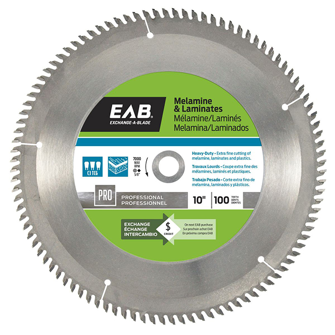 "Melamine Carbide Circular Saw Blade - 100 TH - 10"""