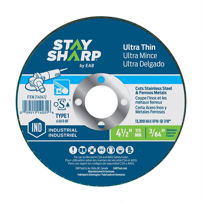 EAB Stay Sharp Industrial Ultra-Thin Metal Cutting Flat Wheel - 4 1/2-in Dia x 3/64-in T - 7/8-in Arbor - Type 1