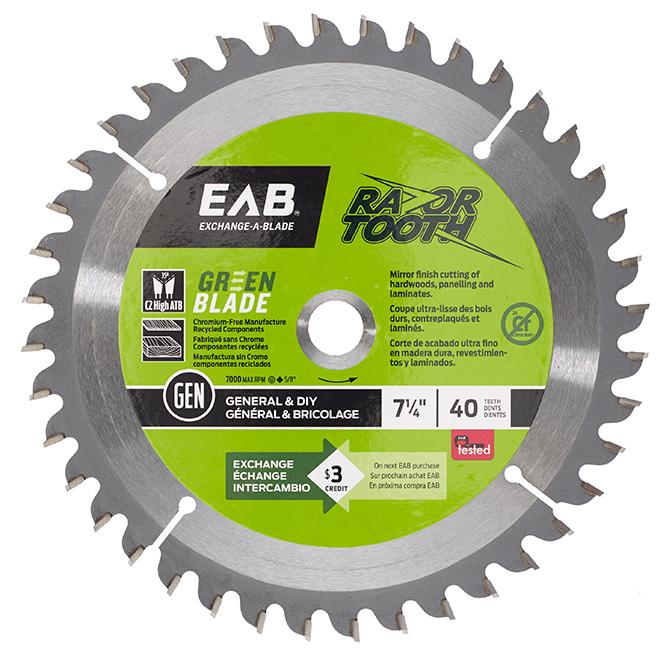 EAB Green RazorTooth Finishing Circular Blade - 7 1/4-in Dia - 40 Tooth