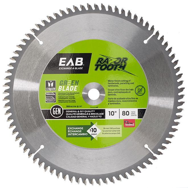 EAB Green RazorTooth Finishing Circular Saw Blade - Alloy Steel - 10-in Dia - 80 Tooth