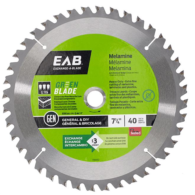 EAB Green Finishing Circular Saw Blade - Alloy Steel - 7 1/4-in Dia - 40 Tooth