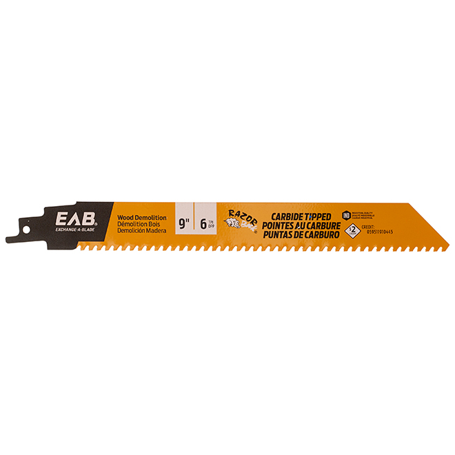 Reciprocating Saw Blade - 9 in. - 6 tpi - Exchangeable