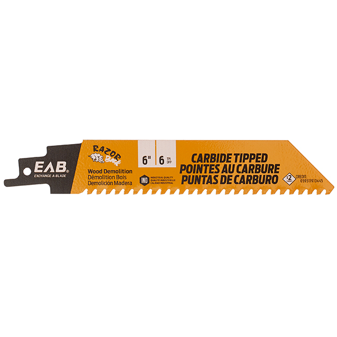 Exchange-A-Blade Exchangeable Industrial Reciprocating Blade - 6-in Dia - 6 TPI - Carbide-Tipped