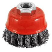 """Knotted-Wire Grinder Brush - 2 1/2"""" x 5/8"""" - Red/Carbon"""