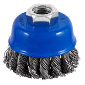 "Knotted-Wire Grinder Brush - 2 1/2"" x 5/8"" - Blue/SS"