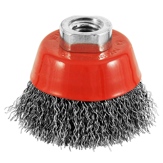 "Crimped-Wire Grinder Brush - 2 1/2"" x 5/8"" - Red/Carbon"