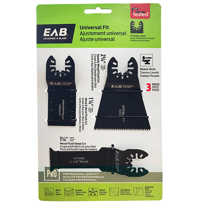 Oscillating Tool Blade Kit - 3 Pieces - Exchangeable