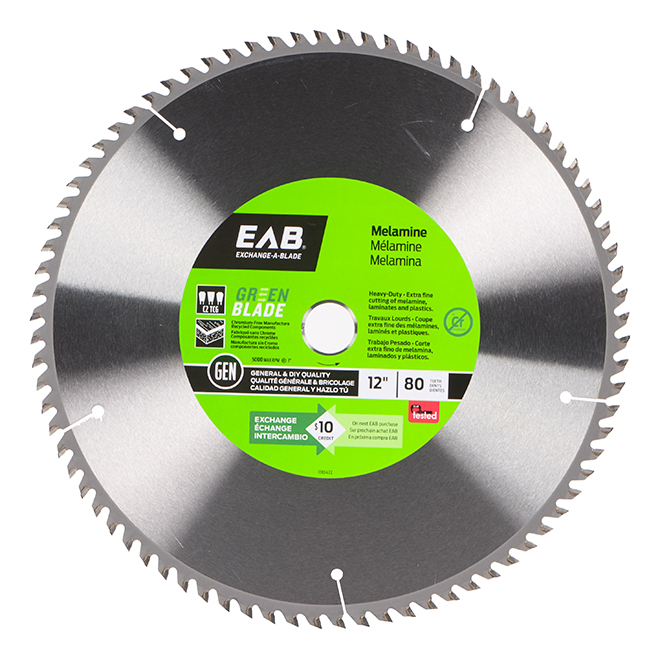 EAB Green Series Extra-Fine Finishing Saw Blade - Carbide - 12-in Dia - 80 Tooth