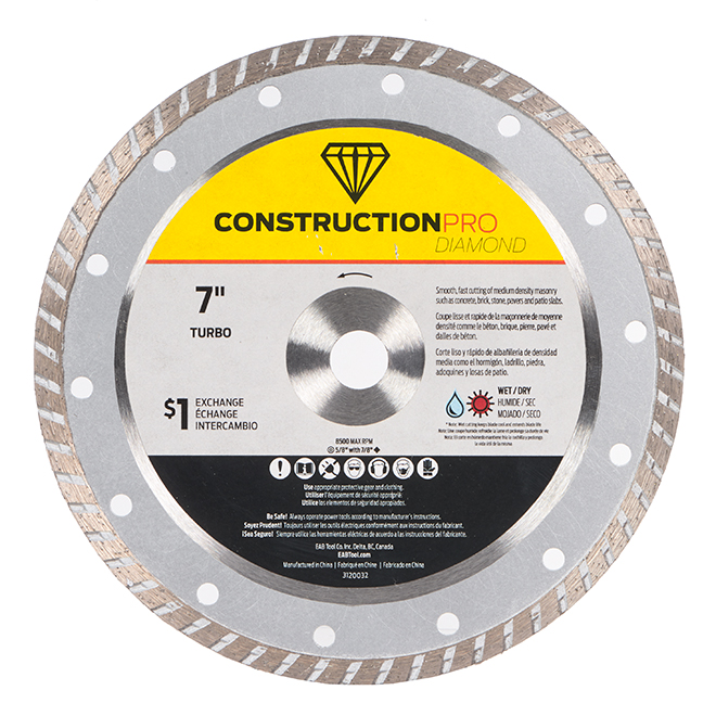 EAB Pro Diamond Continious Saw Blade - Alloy Steel - 7-in Dia - 5/8-in Arbour