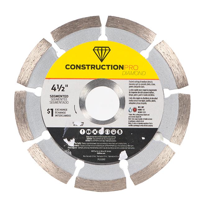 Lame segmentée pour scie de construction, Pro Diamant, 4 1/2 po, échangeable