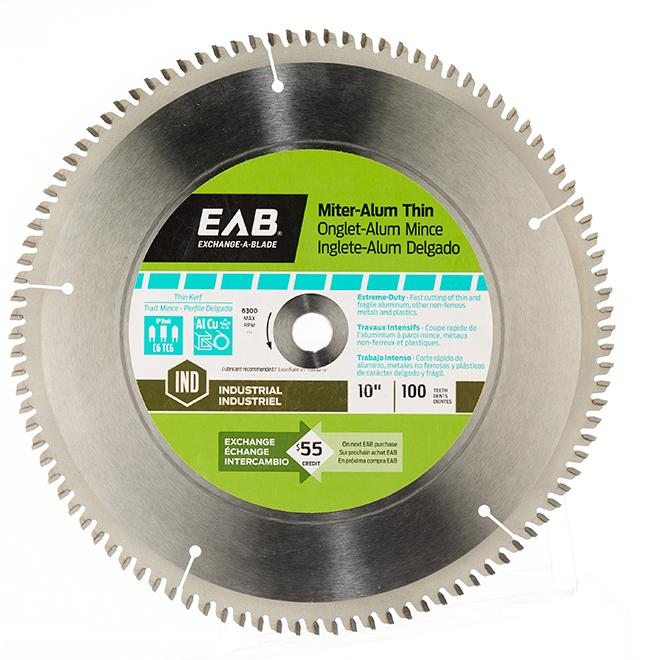 Lame pour aluminium mince « verte » en carbure, 10 po, 100 dents, échangeable