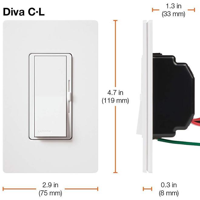 Gradateur CFL DEL Lutron Diva, blanc, plaque murale incluse, 600 W