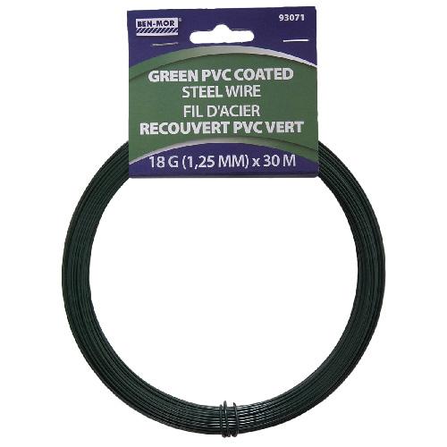 PVC Coated Steel Wire - 30 m - 18 Gauge - Green