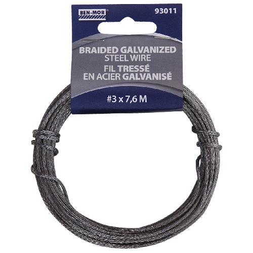 Braided Galvanized Steel Wire - 7.6 m - # 3