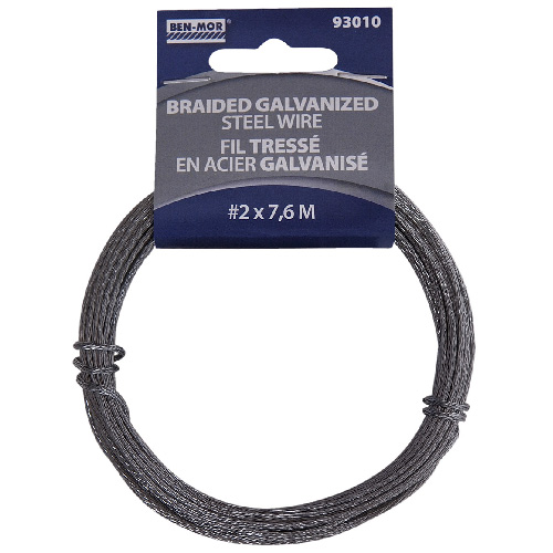 Braided Galvanized Steel Wire - 7.6 m - # 2