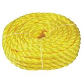 "Twisted Polypropylene Rope - 3-Strand - 3/4"" x 50' - Yellow"