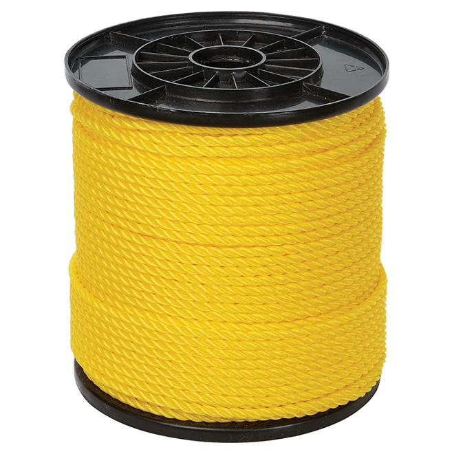 "Twisted Polypropylene Rope - 3-Strand - 1/4"" x 550' - Yellow"