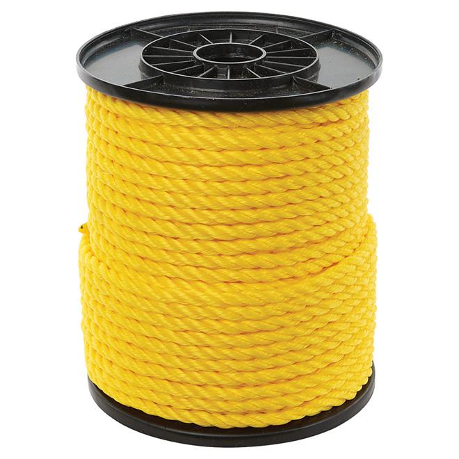 "Twisted Polypropylene Rope - 3-Strand - 3/8"" x 250' - Yellow"