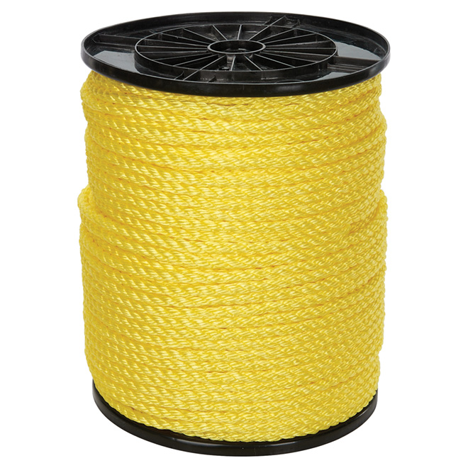 "Twisted Polypropylene Rope - 3-Strand - 3/8"" x 630' - Yellow"