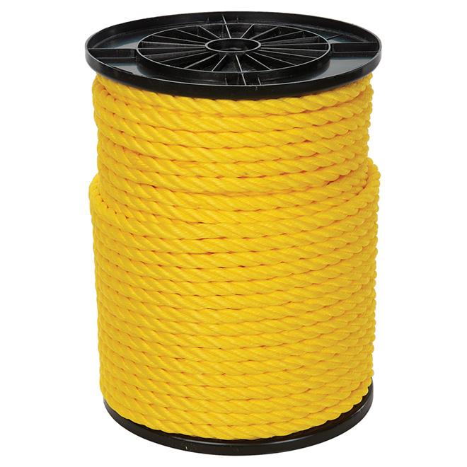 "Twisted Polypropylene Rope - 3-Strand - 1/2"" x 335' - Yellow"