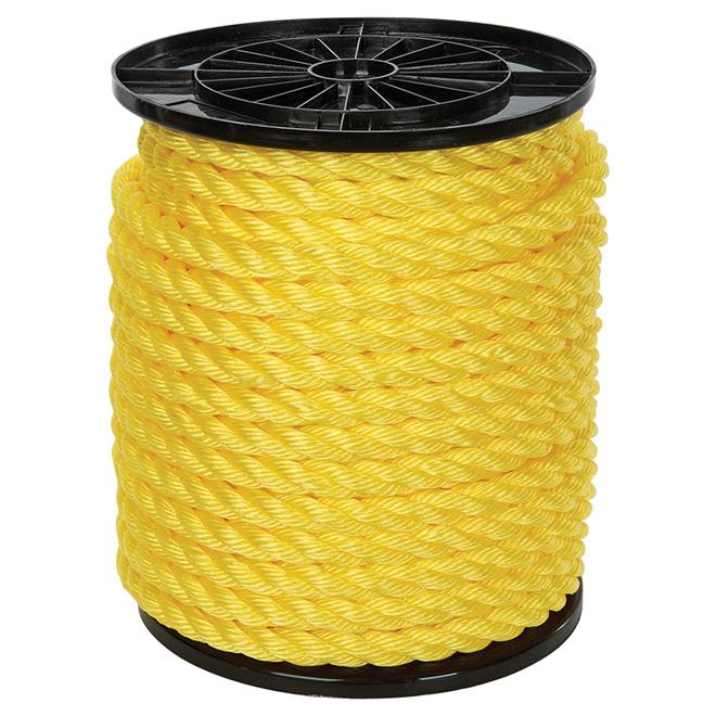 "Corde polypropylène, torsadée à 3 torons, 3/4"" x 150', jaune"