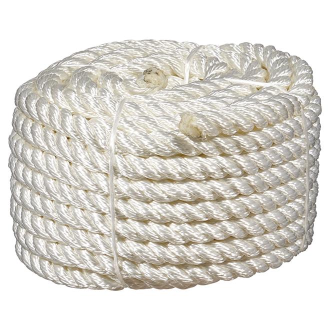 "Twisted Polypropylene Rope - 3-Strand - 1/2"" x 50' - White"