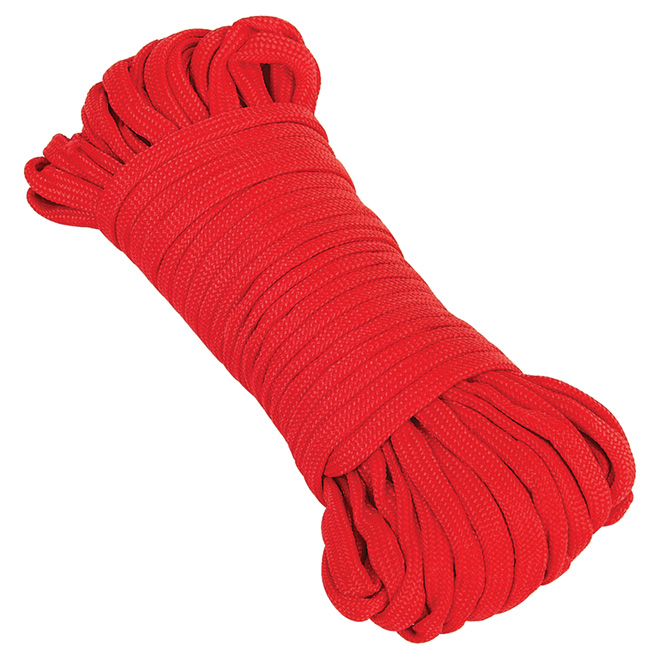 """Paracorde en nylon, tressée en losange, 5/32"""" x 50', rouge"""