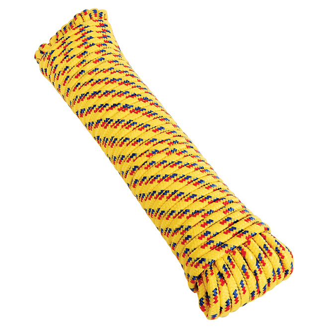 "Diamond Braided Polypropylene Rope - 3/8"" x 100' - Assorted"