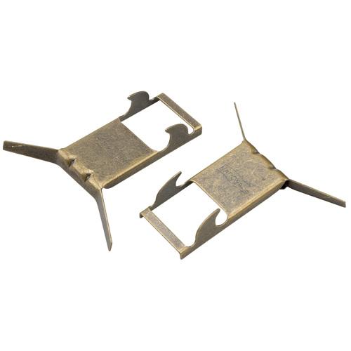 Crochet à brique, paquet de 2, laiton antique