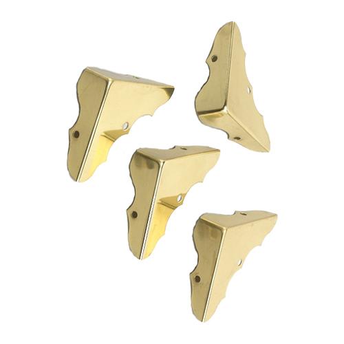 "Chest Corner - 1 3/4"" x 5/8"" - 4/PK - Brass"