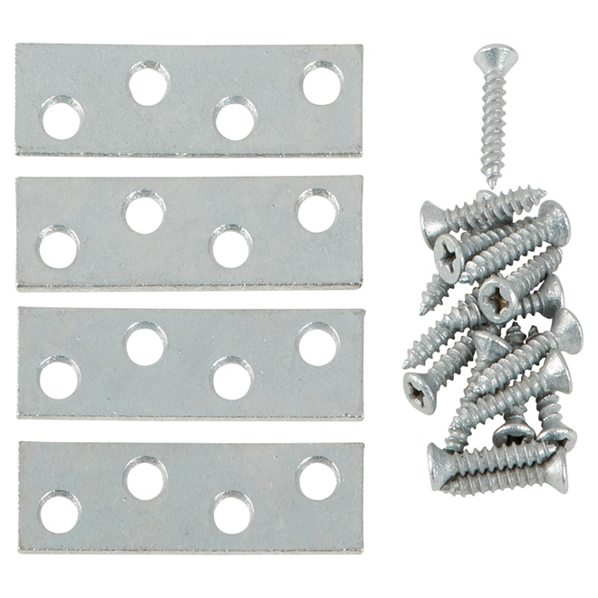 "Mending Plate + Screws - Steel - 2"" x 5/8"" - 4/PK - Galvanized"