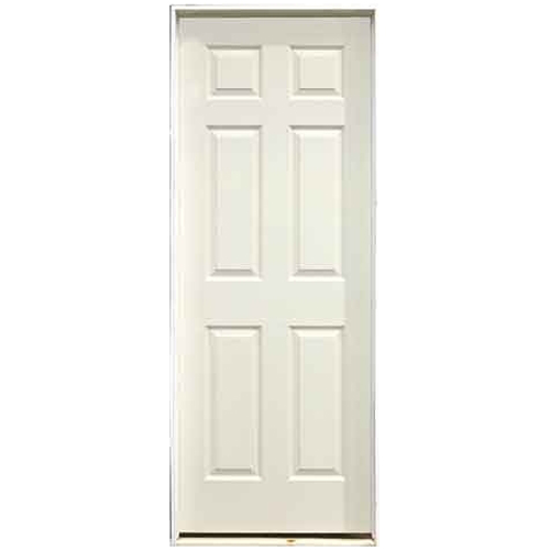 Pre-Hung 6-Panels Door - Right - Primed Hardboard - 28 in x 80 in x 1 3/8 in