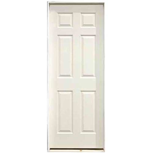 Pre-Hung 6-Panels Door - Left - Primed Hardboard - 28 in x 80 in x 1 3/8 in