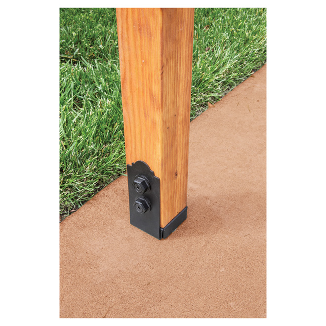 "Galvanized Steel Post Base - 3'' x 3''  9/16x7"" - Black"