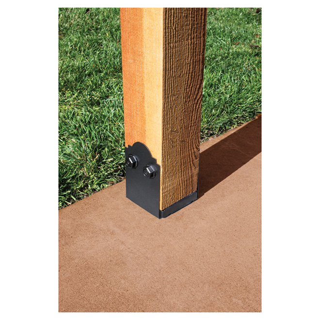 "Galvanized Steel Post Base, 5'' x 5''  1/2'' x 7.5"",  Black"