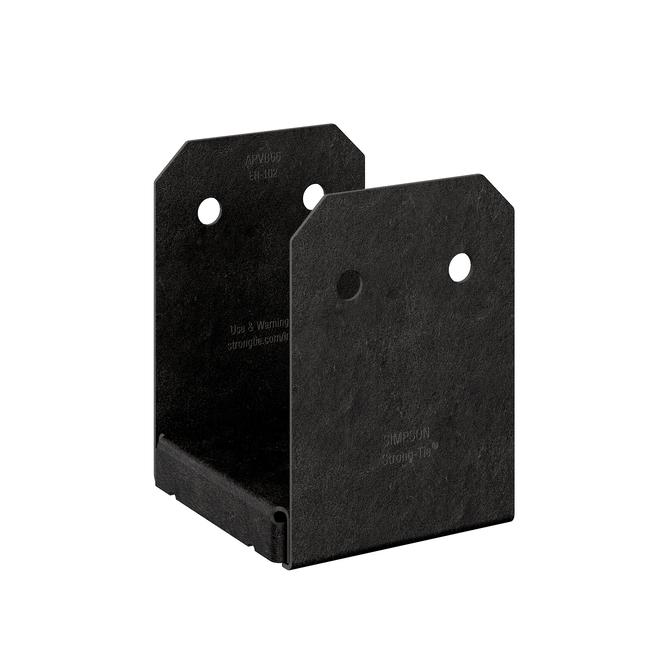 Base de poteau ajustable Simpson Strong-Tie, revêtement noir thermolaqué, calibre 12, 5 po de long x 5 1/2 po de large