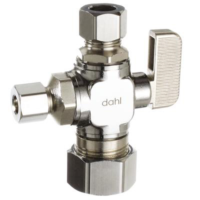 """Dual Outlet Straight Valve - 1/2"""" x 3/8"""" x 3/8"""" OD"""