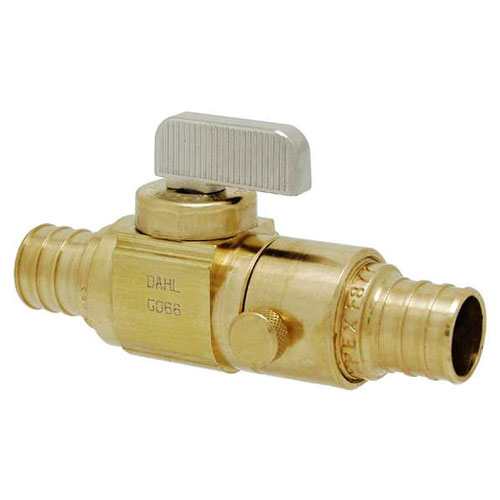 """Dahl In-Line Stop and Isolation Valve - PEX - 3/4"""" Brass"""