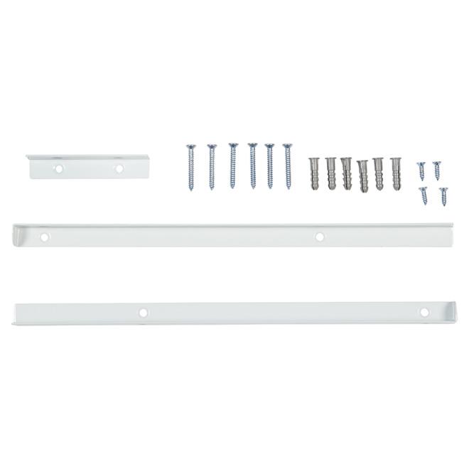Trousse de support d'étagère pour garde-robe, blanc, 3 pièces