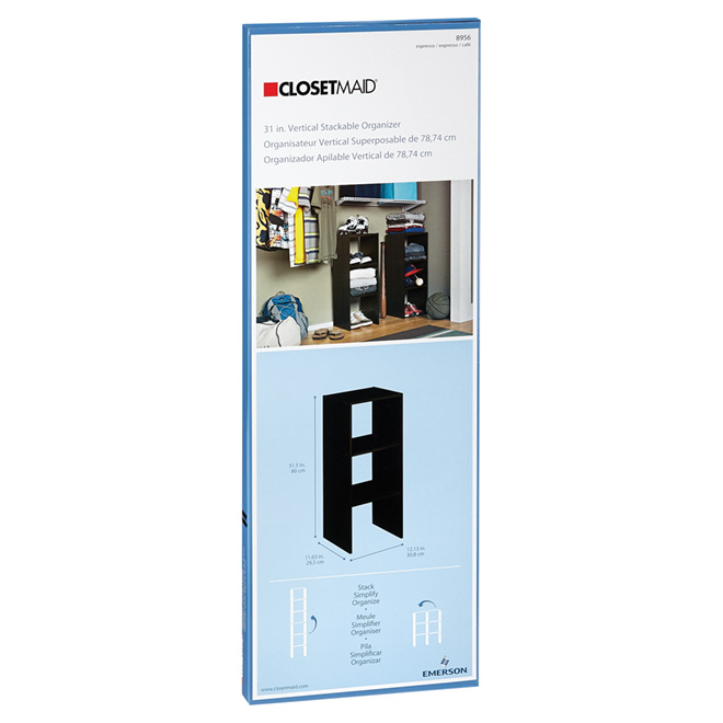 """Rangement vertical et superposable,  31"""" x 12"""", expresso"""