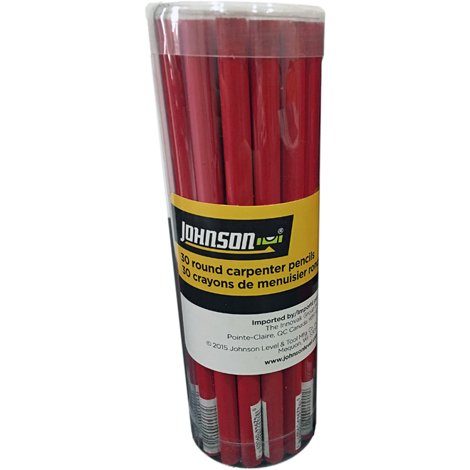 Crayon de menuisier surdimensionné, mine noire, paquet de 30