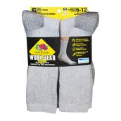 Men's Work Socks - Cotton - 6-12 - Grey - 6/Pk