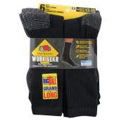 Men's Work Socks - Cotton - 13-15 - Black - 6/Pk